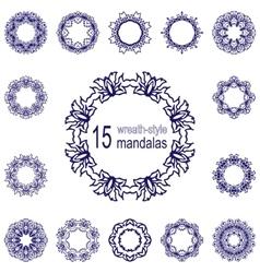 Set of fifteen wreathes or mandalas vector