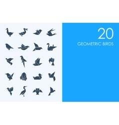 Set of geometric birds icons vector