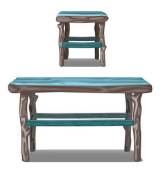 set of wooden table and stool in turquoise vector image