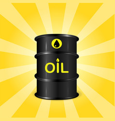Single realistic oil barrel on sunray background vector