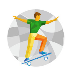Skateboarder jump on skateboard vector