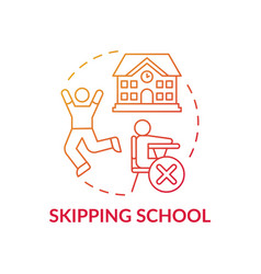 Skipping school red gradient concept icon vector