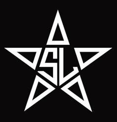 Sl logo monogram with star shape design template vector