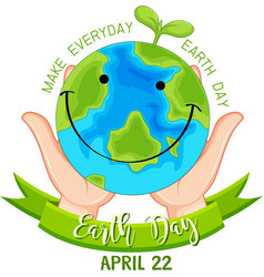 Smiling earth day poster vector