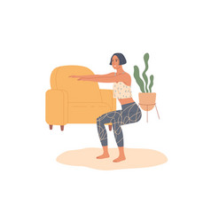 sporty woman practicing squat exercises at home vector image