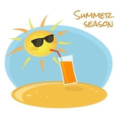 Summer sun drinking orange cocktail vector