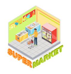 supermarket department interior isometric vector image
