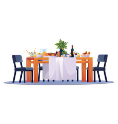 table laid festive dinner food dishes and chairs vector image