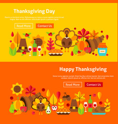 Thanksgiving day website banners vector