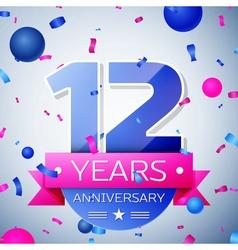 Twelve years anniversary celebration on grey vector