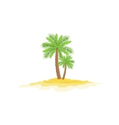 Two Palm Trees Standing On Sandy Beach vector image
