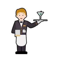 Waiter cup male avatar suit person icon vector image