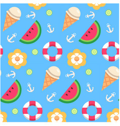 watermelon ice cream lemon anchor pattern blue bac vector image