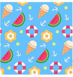 Watermelon ice cream lemon anchor pattern blue bac vector