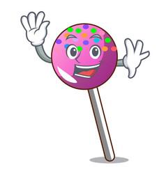 Waving lollipop with sprinkles character cartoon vector