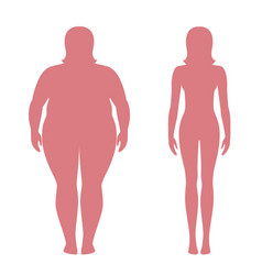 weight loss concept obese and normal female body vector image