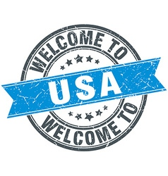 welcome to usa blue round vintage stamp vector image