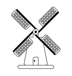 windmill building symbol isolated black and white vector image