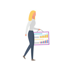 woman with broadsheet depicting graphs and charts vector image