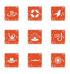 World ocean icons set grunge style vector