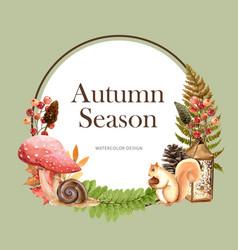 Wreath design with autumn theme watercolour wild vector
