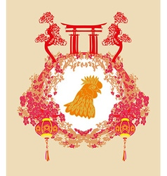 year of rooster - New Year greeting card design vector image