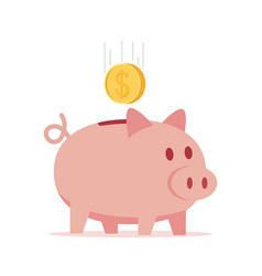 piggy bank with coin vector image