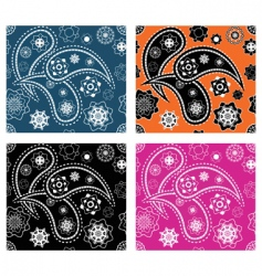 set of four paisley patterns vector image vector image