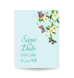 wedding invitation template tropical design vector image vector image