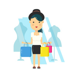 young hipster girl woman in hat shopping vector image