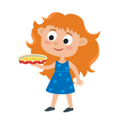 adorable little red-haired vector image