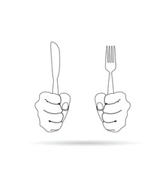 cutlery in hand drawing on white background vector image vector image