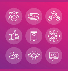 likes followers rating linear icons set vector image