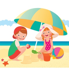 Children playing on the beach vector image vector image