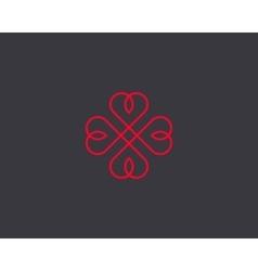Four hearts symbol Heart cross logotype vector image vector image