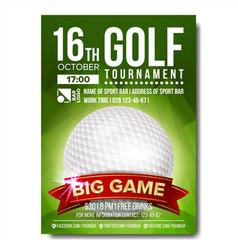 golf poster golf ball vertical design for vector image