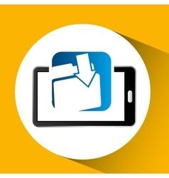 mobile phone icon file folder social media vector image