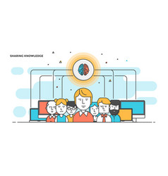 modern flat line color hero image of sharing vector image vector image