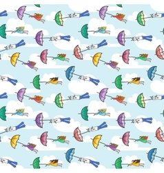 seamless pattern with umbrellas flying at vector image