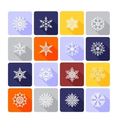 Snowflake flat icons vector image
