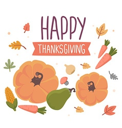 Thanksgiving with vegetables and text happy vector
