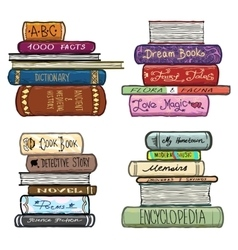 Vintage hand drawn books library set vector image