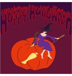 Young witch sitting on the pumpkin vector image