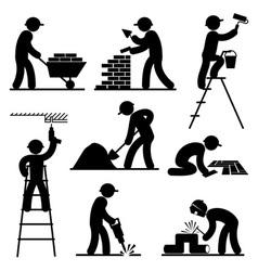 builder people vector image vector image
