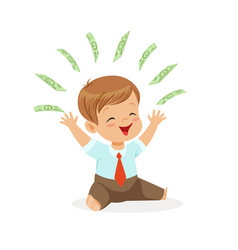 happy boy businessman playing with money flying vector image vector image