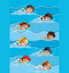 many kids swimming in pool vector image