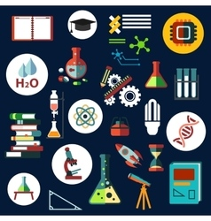Science flat physics and chemistry icons vector image