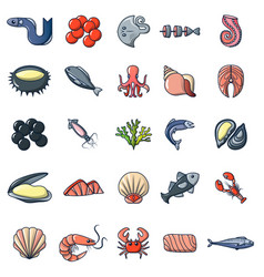 seafood fish ocean icons set cartoon style vector image