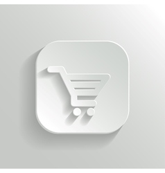 Shopping cart icon - white app button vector image vector image