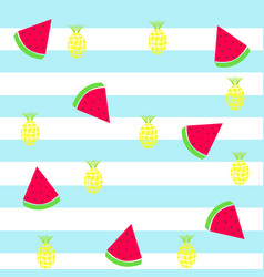 slice watermelon and pineapple tileable texture vector image